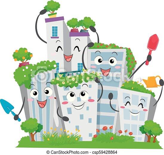 городской, buildings, садоводство, иллюстрация, талисман - csp59428864