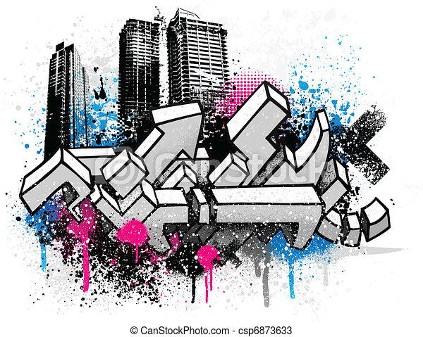 город, граффити, задний план - csp6873633