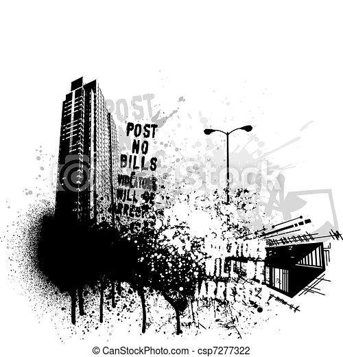 гранж, город, дизайн - csp7277322