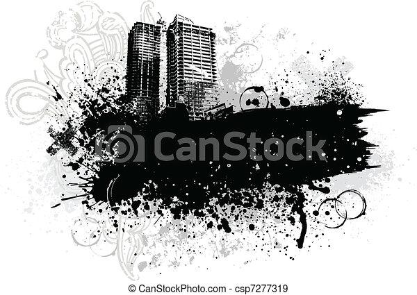 гранж, город, дизайн - csp7277319