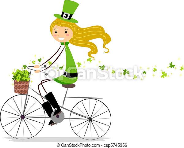 девушка, велосипед - csp5745356