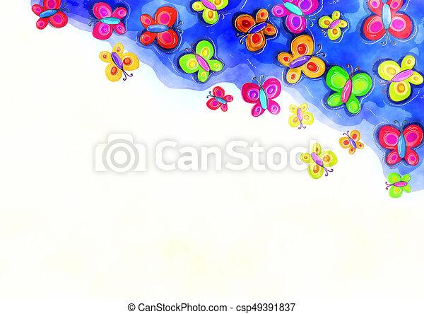 декоративный, акварель, граница, весна, бабочка - csp49391837