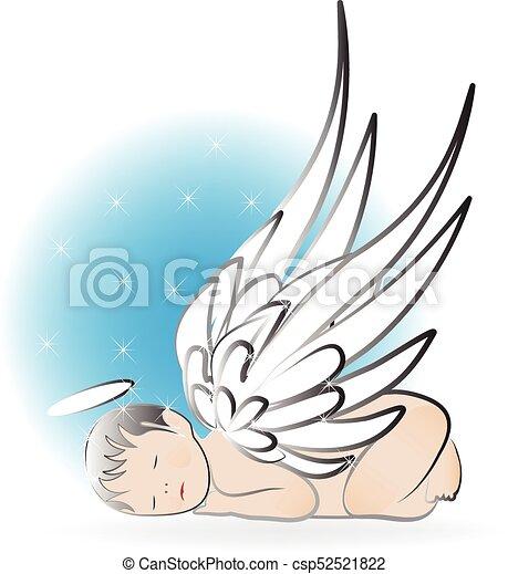 детка, логотип, ангел, спать - csp52521822