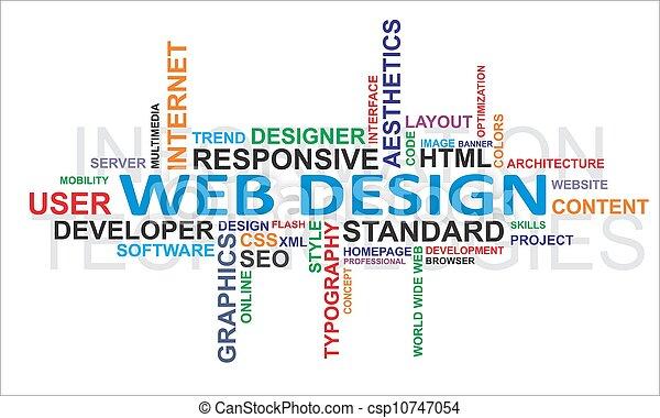 дизайн, -, облако, слово, web - csp10747054