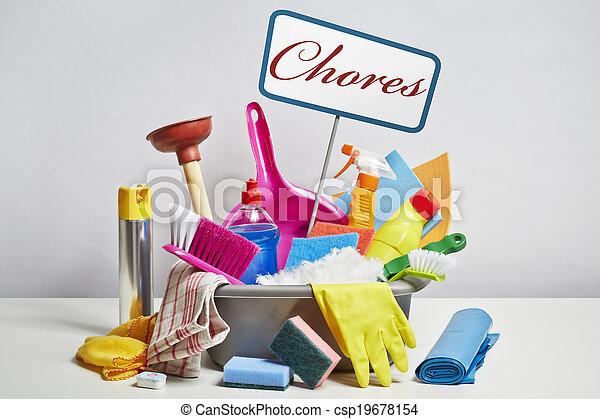 дом, продукты, уборка, задний план, свая, белый - csp19678154