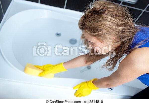 женщина, за работой, уборка, жесткий, ванна - csp3514810