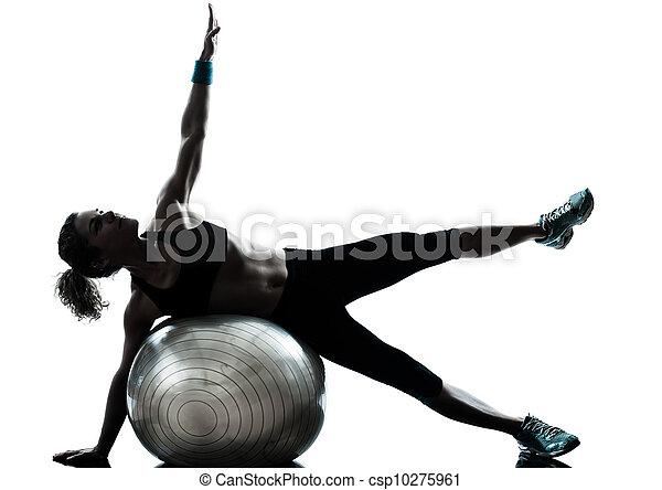 женщина, мяч, разрабатывать, фитнес, exercising - csp10275961