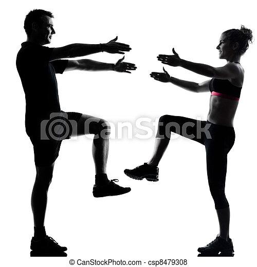 женщина, пара, exercising, один, фитнес, разрабатывать, человек - csp8479308