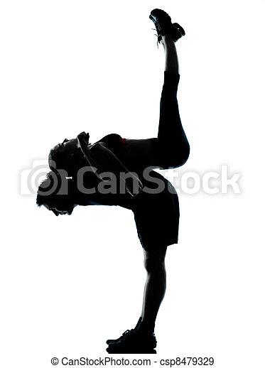 женщина, пара, exercising, один, фитнес, разрабатывать, человек - csp8479329
