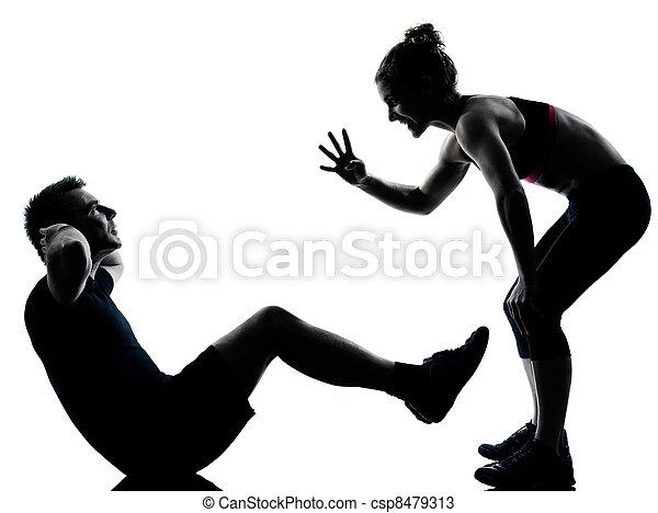 женщина, пара, exercising, один, фитнес, разрабатывать, человек - csp8479313