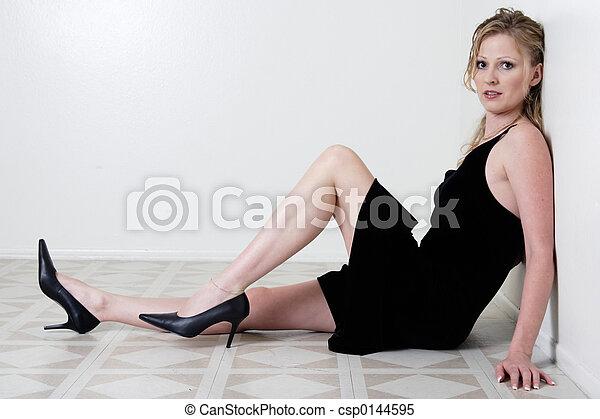 женщина, сидящий - csp0144595