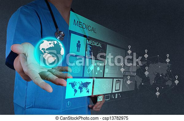 за работой, врач, интерфейс, компьютер, лекарственное средство, современное - csp13782975