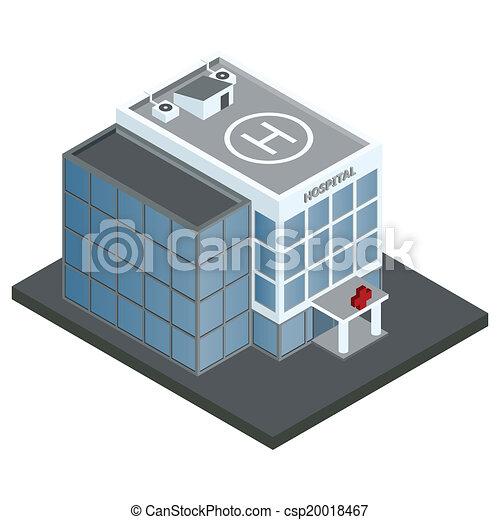 здание, больница, изометрический - csp20018467