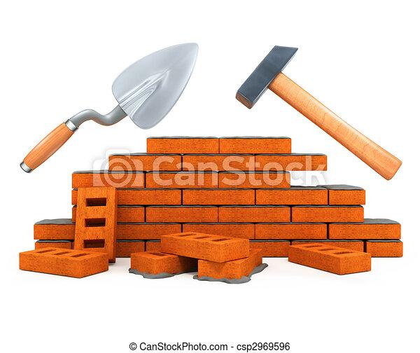 здание, дом, инструмент, лопатка каменщика, isolated, строительство, молоток - csp2969596