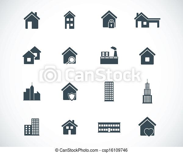 здание, задавать, черный, вектор, icons - csp16109746
