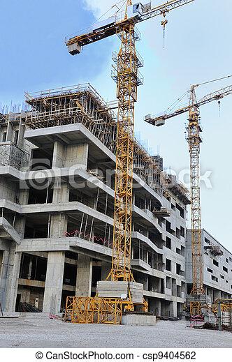 здание, кран, строительство, сайт - csp9404562