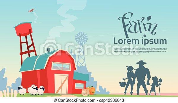 здание, сельхозугодий, силуэт, семья, farmers, сельская местность, пейзаж - csp42306043