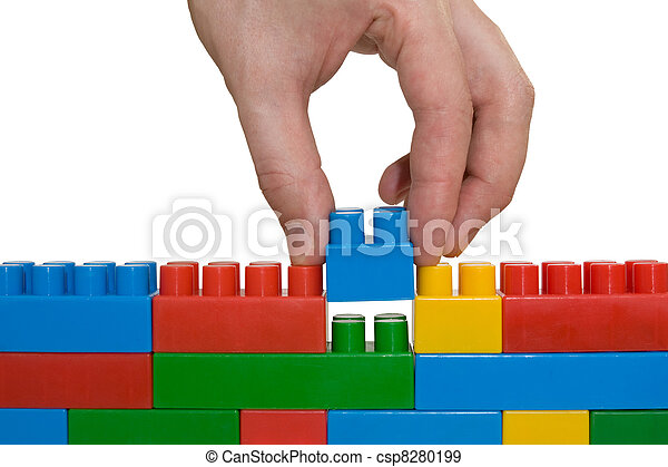 здание, стена, рука, вверх, лего - csp8280199