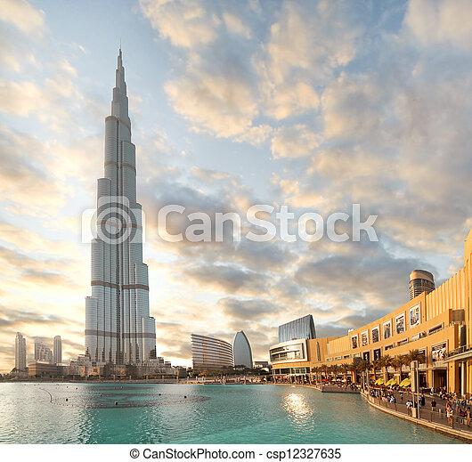 здание, 23, октября, khalifa, дубай, -, burj, в центре города, 23:, наибольший, uae, мир, 2012 - csp12327635