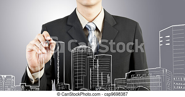 здание, cityscape, привлечь, бизнес, человек - csp9698387