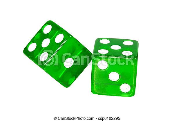 зеленый, вырезка, -, игральная кость, дорожка - csp0102295