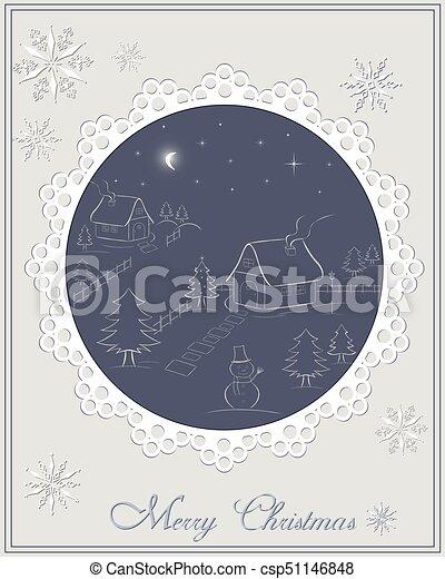 зима, деревня, -, место действия, ночь, рождество, карта - csp51146848