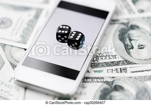игральная кость, деньги, денежные средства, вверх, телефон, закрыть, умная - csp30266407
