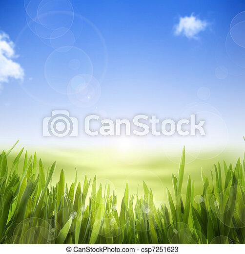 изобразительное искусство, природа, весна, абстрактные, небо, задний план, трава - csp7251623