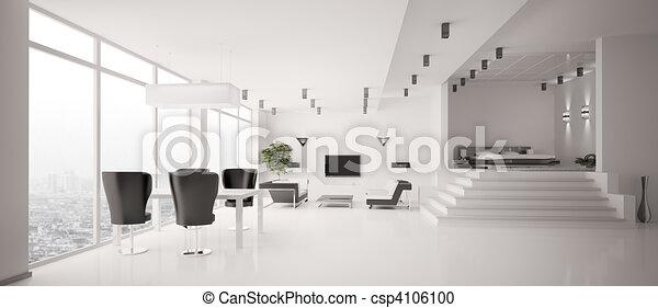 интерьер, панорама, белый, квартира, 3d - csp4106100
