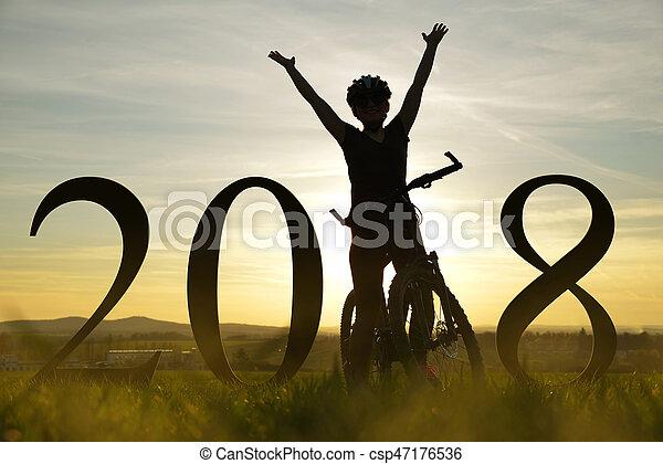 концепция, bike., веселая, год, 2018., новый, девушка - csp47176536