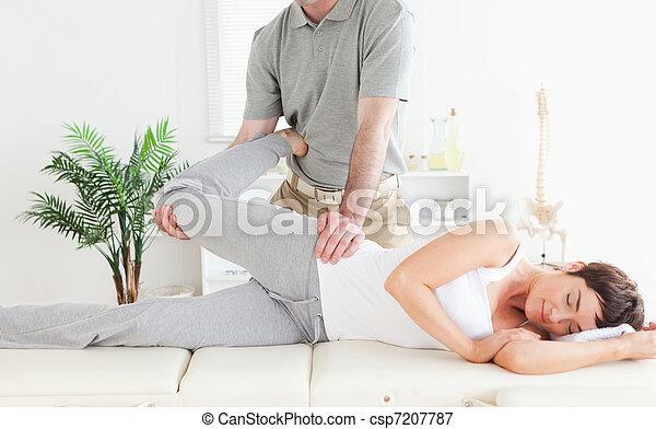 костоправ, растянуты, нога, женский пол, customer's - csp7207787
