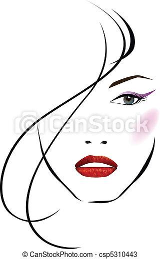 красивая, девушка, лицо - csp5310443