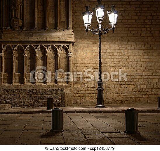 красивая, здание, старый, барселона, фронт, уличный свет - csp12458779