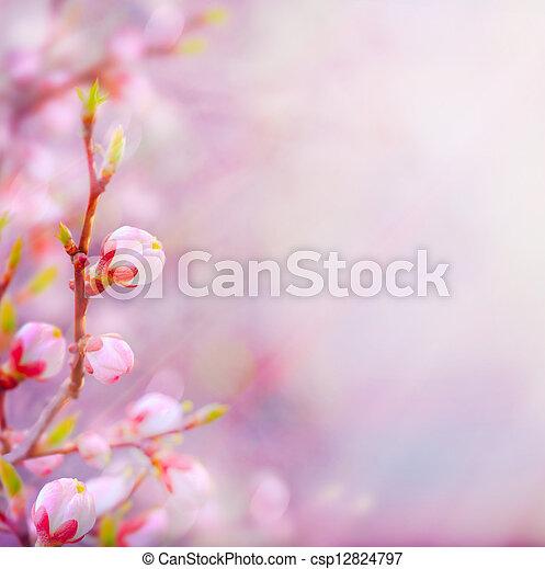 красивая, изобразительное искусство, весна, blossoming, дерево, задний план, небо - csp12824797
