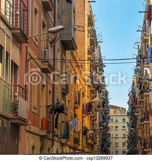 красивая, neighbourhood, streets, barceloneta, барселона - csp13269937