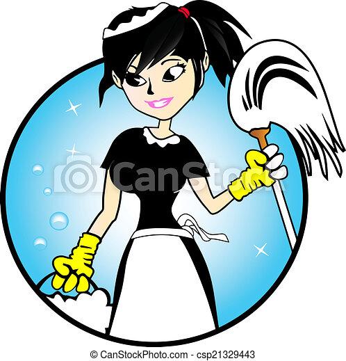 леди, -, уборка, иллюстрация - csp21329443