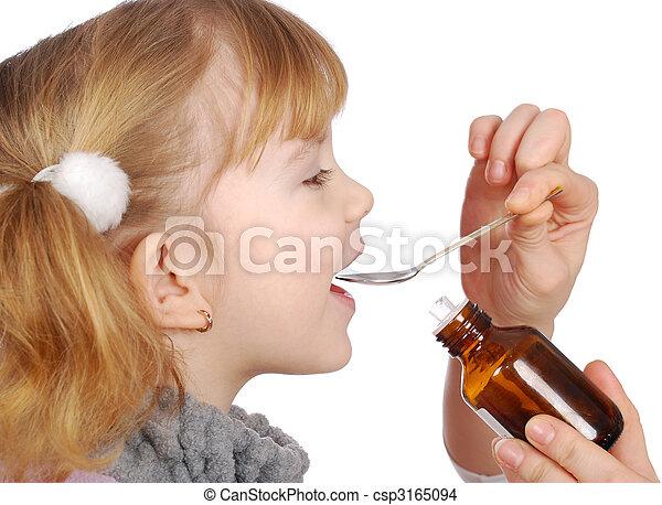 лекарственное средство, немного, девушка, взять - csp3165094