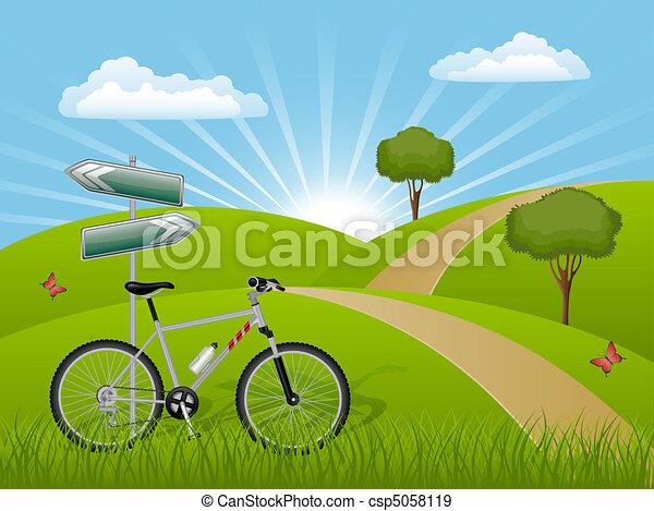лето, велосипед, пейзаж - csp5058119