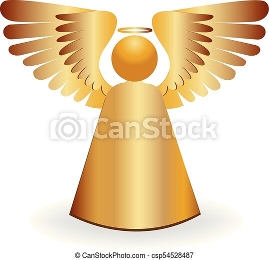 логотип, ангел, золото, значок - csp54528487