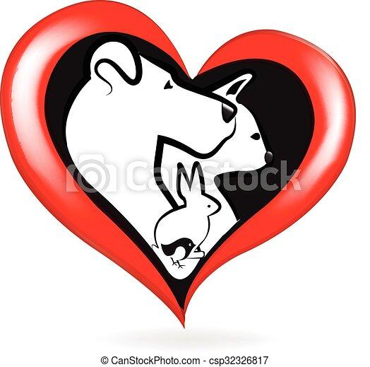 логотип, кот, птица, кролик, собака - csp32326817