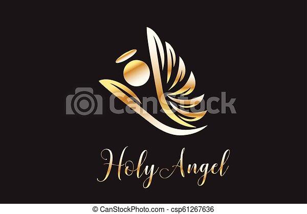 логотип, летающий, ангел - csp61267636