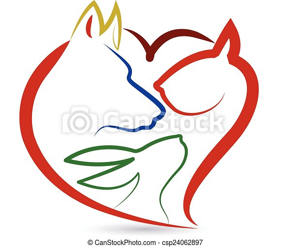 логотип, птица, собака, кролик, кот - csp24062897