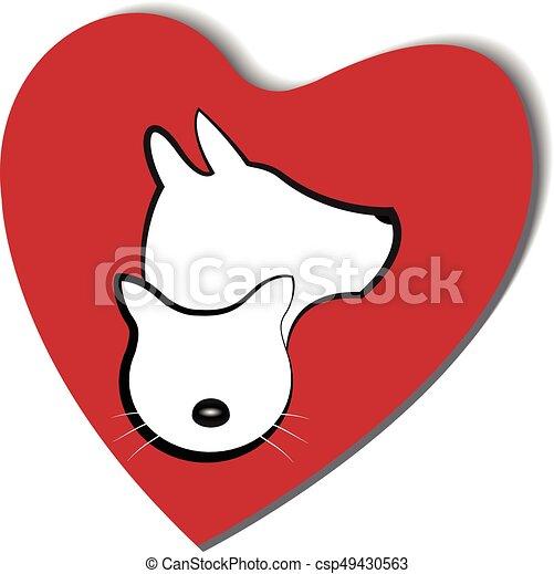 логотип, сердце, люблю, собака, кот - csp49430563