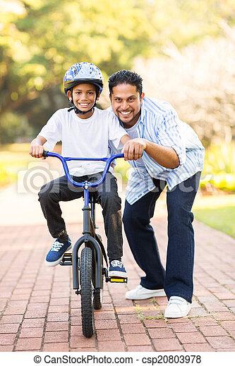 мальчик, немного, поездка, велосипед, индийский, learning - csp20803978
