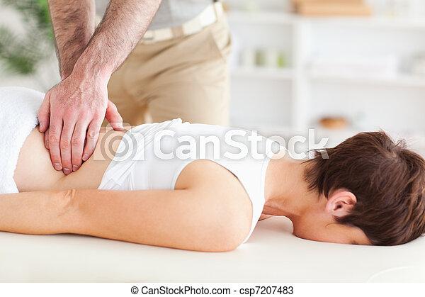 милый, женщина, massaging, человек - csp7207483