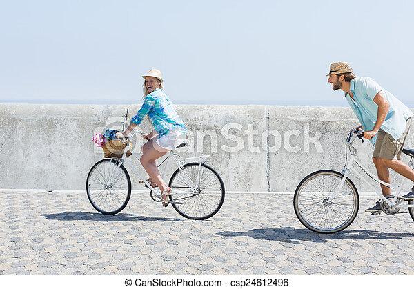 милый, пара, велосипед, поездка - csp24612496