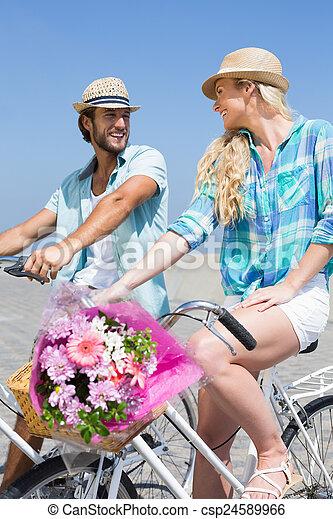 милый, пара, велосипед, поездка - csp24589966