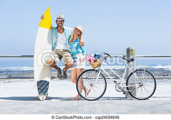 милый, пара, велосипед, поездка - csp24594649
