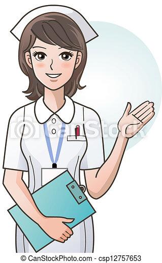 молодой, милый, мультфильм, providing, медсестра - csp12757653