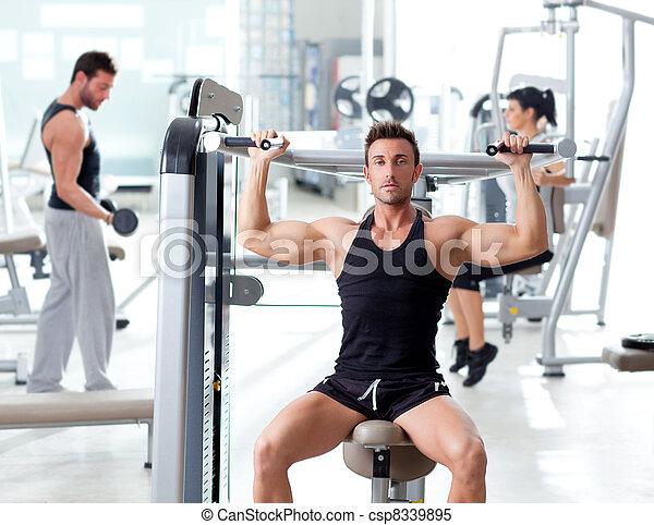 обучение, группа, люди, гимнастический зал, фитнес, спорт - csp8339895
